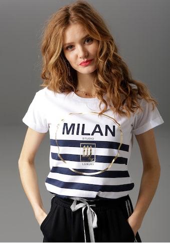 Aniston CASUAL T-Shirt, mit goldfarbenen Glitzerdruck und Streifen kaufen