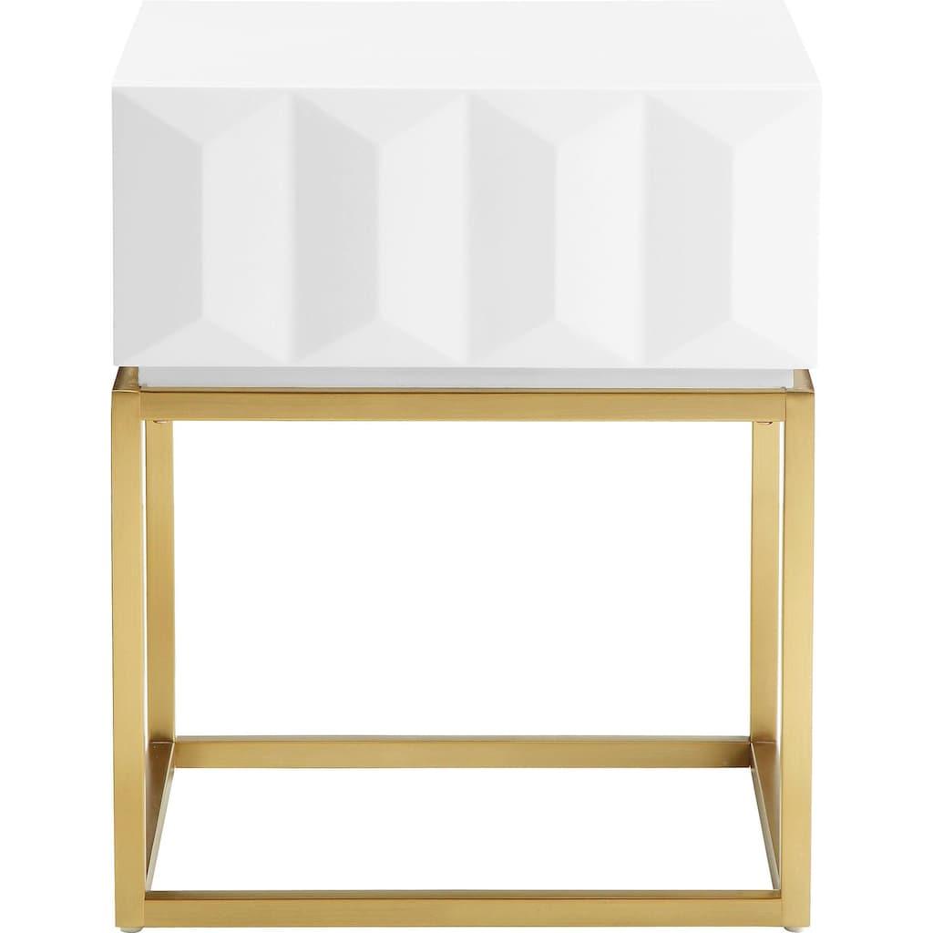 Leonique Beistelltisch »Alais«, in 3D-Optik, mit goldfarbenem Metallgestell, auch als Nachttisch geeignet