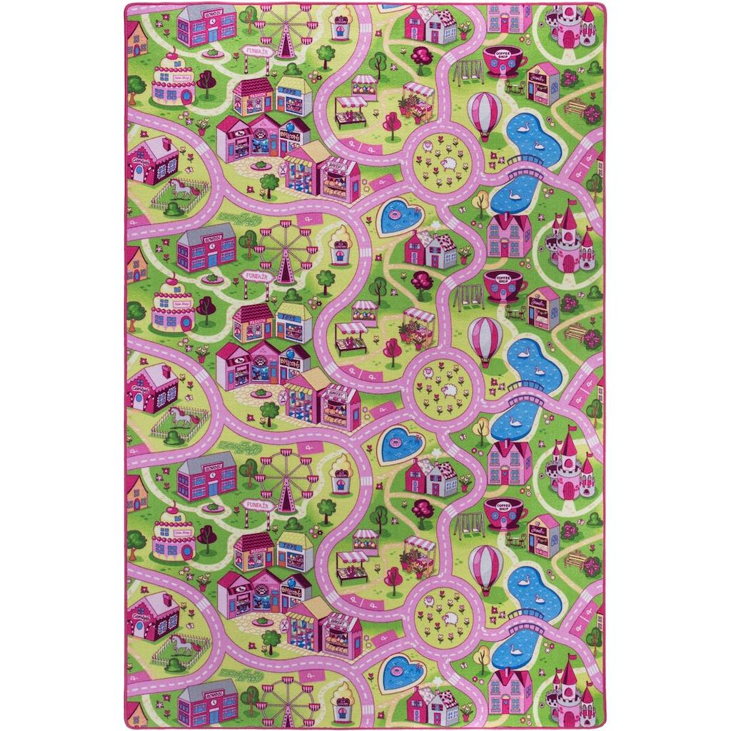 Andiamo Kinderteppich »Sweet Village«, rechteckig, 7 mm Höhe, Straßen-Spielteppich, Straßenbreite: 6,0 cm, Kinderzimmer