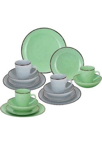 ARTE VIVA Kombiservice »Puro«, (Set, 16 tlg.), Farbset in lindgrün und grau, vom Sternekoch Thomas Wohlfarter empfohlen kaufen