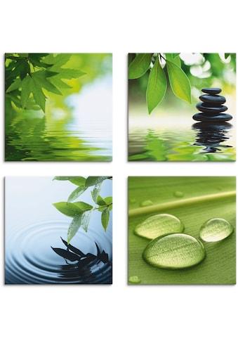 Artland Leinwandbild »Blätter Wasser Zen Steinpyramide Tropfen«, Zen, (4 St.) kaufen