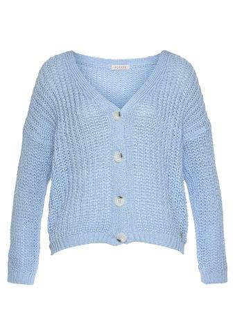 Please Jeans Cardigan »M3614«, mit Rippstruktur & Knöpfen in Hornoptik kaufen