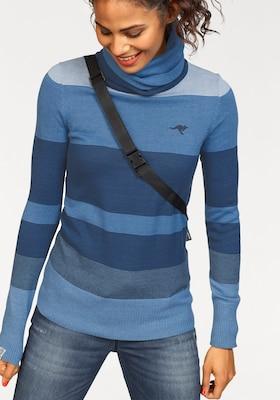 blau gestreifter Rollkragenpullover