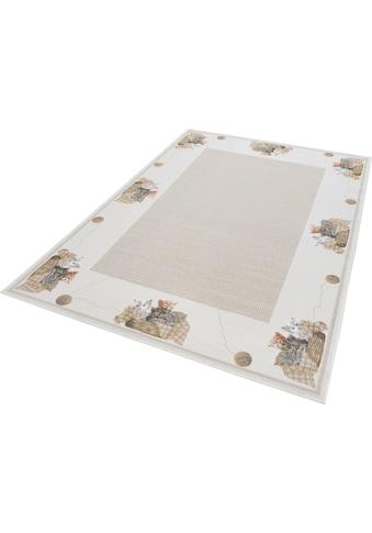 THEKO Teppich »Flomi Kitten«, rechteckig, 4 mm Höhe, mit Bordüre und niedlichem Katzenmotiv, Wohnzimmer kaufen