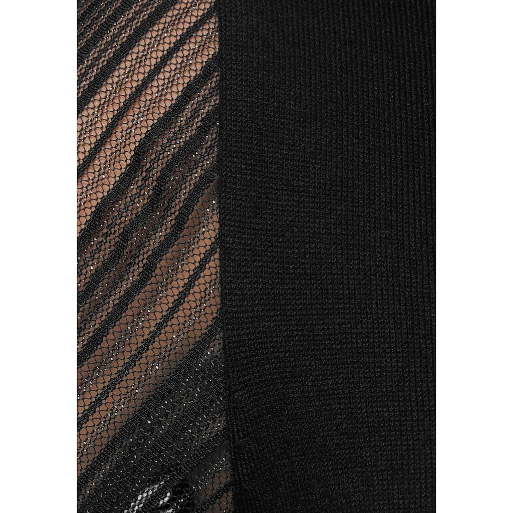 Melrose Strickkleid, mit Netzärmeln mit Glitzerfaden