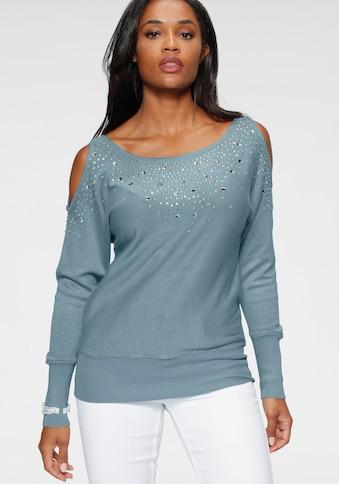 Melrose Rundhalspullover, mit Schulter Cut Out und farbig glänzenden Glitzersteinen kaufen