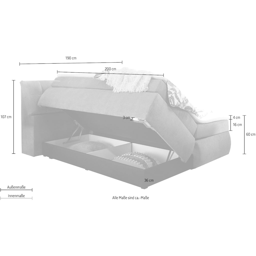 Boxspringbett »Bregenz«, inkl. Stauraum im Kopfteil, Bettkasten und Topper