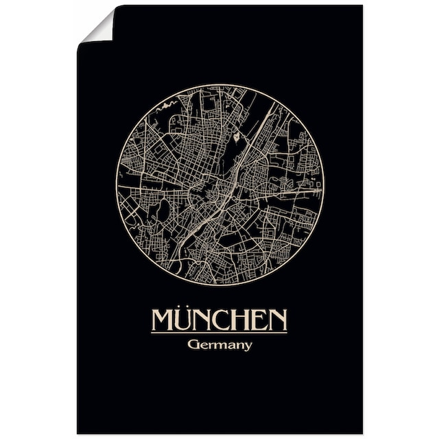 Artland Wandbild »Retro Karte München Deutschland Kreis«