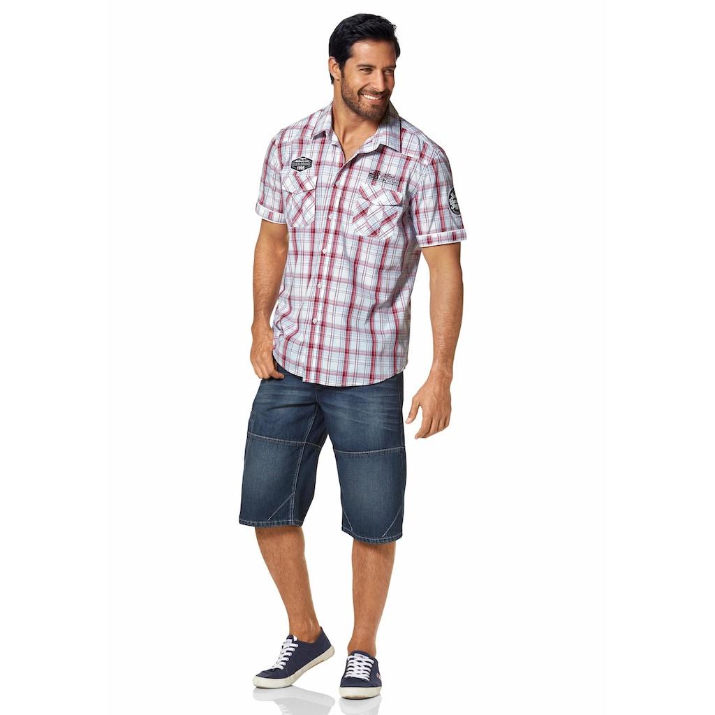Man's World Kurzarmhemd, mit modischen Applikationen