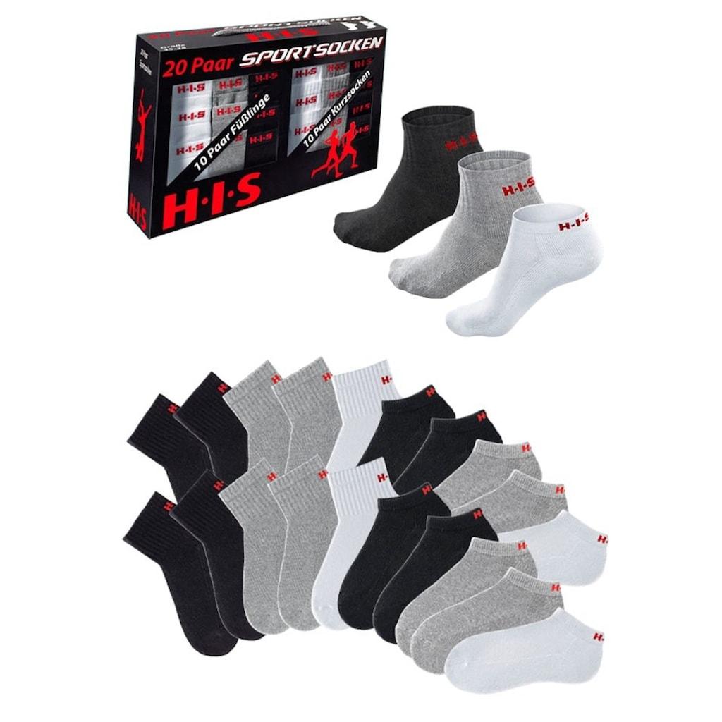 H.I.S Kurzsocken, (Box, 20 Paar), und Sneakersocken mit Frottee