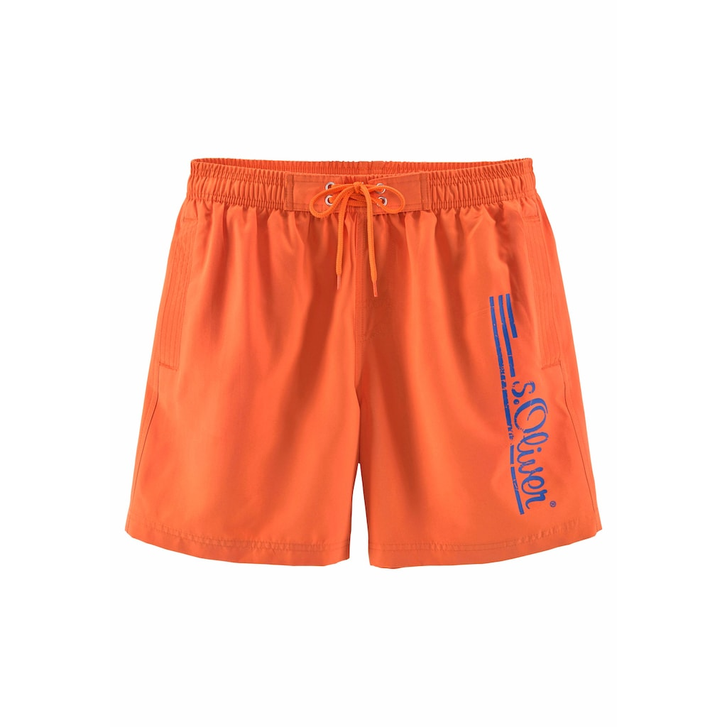 s.Oliver Beachwear Badeshorts, mit Logo-Print im Used-Look
