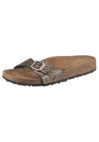 Birkenstock Pantolette »Madrid Shiny Python«, mit vorgeformtem Fußbett, Schuhweite: schmal kaufen
