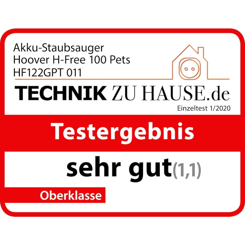 Hoover Akku-Hand-und Stielstaubsauger »H-Free 100 PETS, HF122GPT 011«