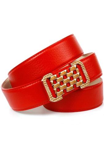 Anthoni Crown Ledergürtel, mit Fashion-Koppelschließe, helle Rückseite kaufen