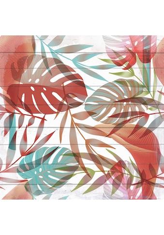 queence Holzbild »Bunte Tropenblätter«, 40x40 cm kaufen