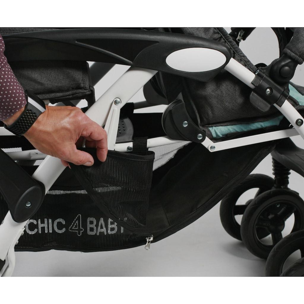 CHIC4BABY Geschwisterwagen »Duo, melange mint«, mit feststellbaren Doppelschwenk-Vorderrädern