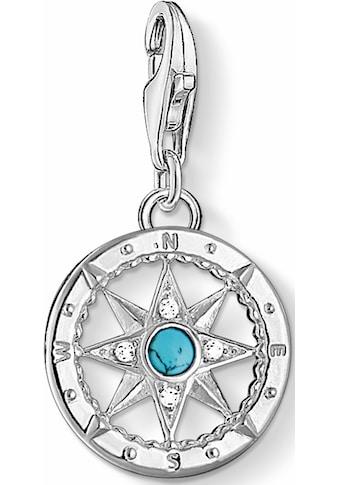 THOMAS SABO Charm-Einhänger »Kompass, 1228-405-17«, mit Zirkonia und Türkis kaufen