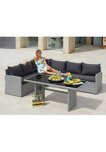 MERXX Gartenmöbelset »Chicago«, 11 - tlg., Ecklounge, Tisch 145x70 cm, Polyrattan kaufen