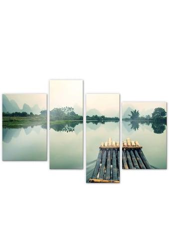 Wall-Art Mehrteilige Bilder »Floßfahrt in China (4-teilig)«, (Set, 4 St.) kaufen