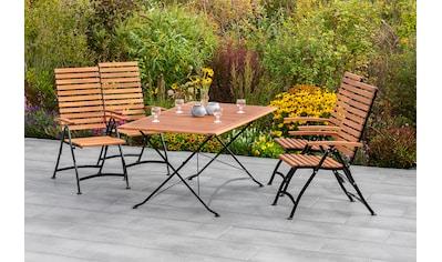 MERXX Gartenmöbelset »Schloßgarten«, (5 tlg.), 4 Klappsessel mit Tisch kaufen