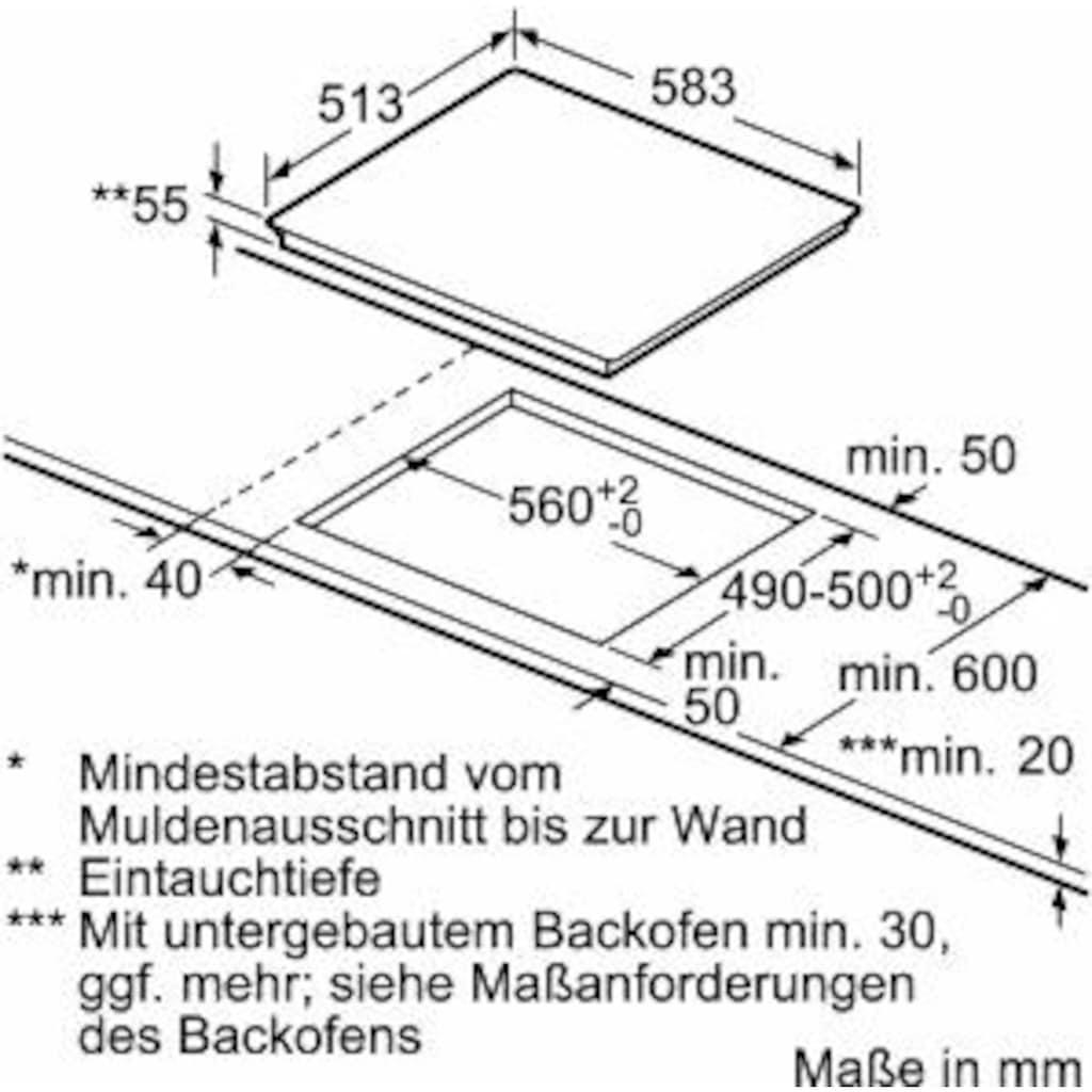 SIEMENS Flex-Induktions-Kochfeld von SCHOTT CERAN®, EX645LXC1E, mit powerMove Plus