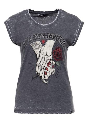QueenKerosin Print-Shirt »Sweet Hearts«, Enzyme Wash und Print in der Front kaufen
