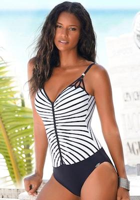 schwarz-weiß gestreifter Badeanzug mit raffinierten Trägern