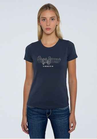 Pepe Jeans Kurzarmshirt »ANNA«, mit großem Marken-Logo-Druck und sonst schlichter Optik kaufen