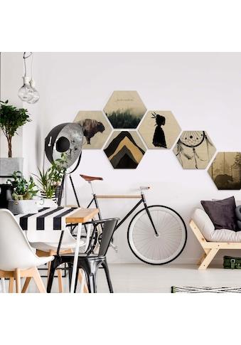 Wall-Art Mehrteilige Bilder »Natur Collage Bohemian Holzdeko«, (Set, 6 St.) kaufen