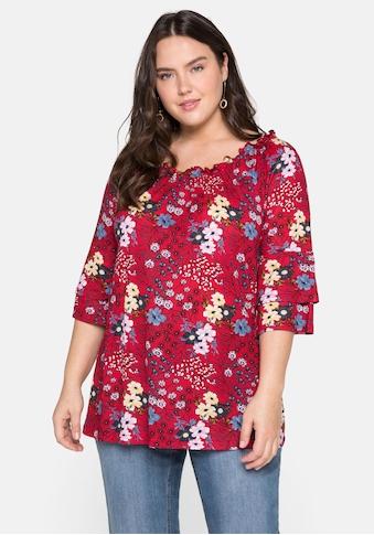 sheego by Joe Browns 3/4-Arm-Shirt, in A-Linie, mit Blumendruck und Volantärmeln kaufen