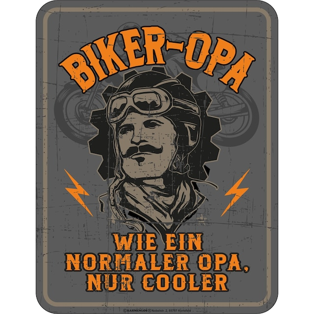 Rahmenlos Blechschild mit coolem Biker-Motiv