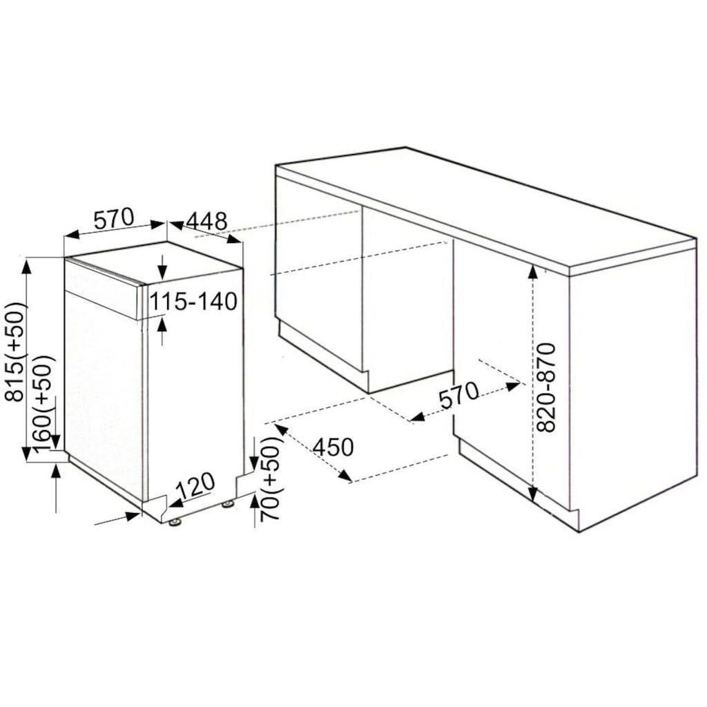 vonReiter teilintegrierbarer Geschirrspüler »VREGSP 45110 E/B«, VREGSP 45110 E/B, 9 l, 10 Maßgedecke