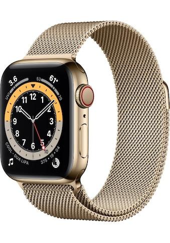 Apple Smartwatch »Apple Watch Series 6 GPS + Cellular, Edelstahlgehäuse, 40 mm mit Milanaise Armband«, ( ) kaufen