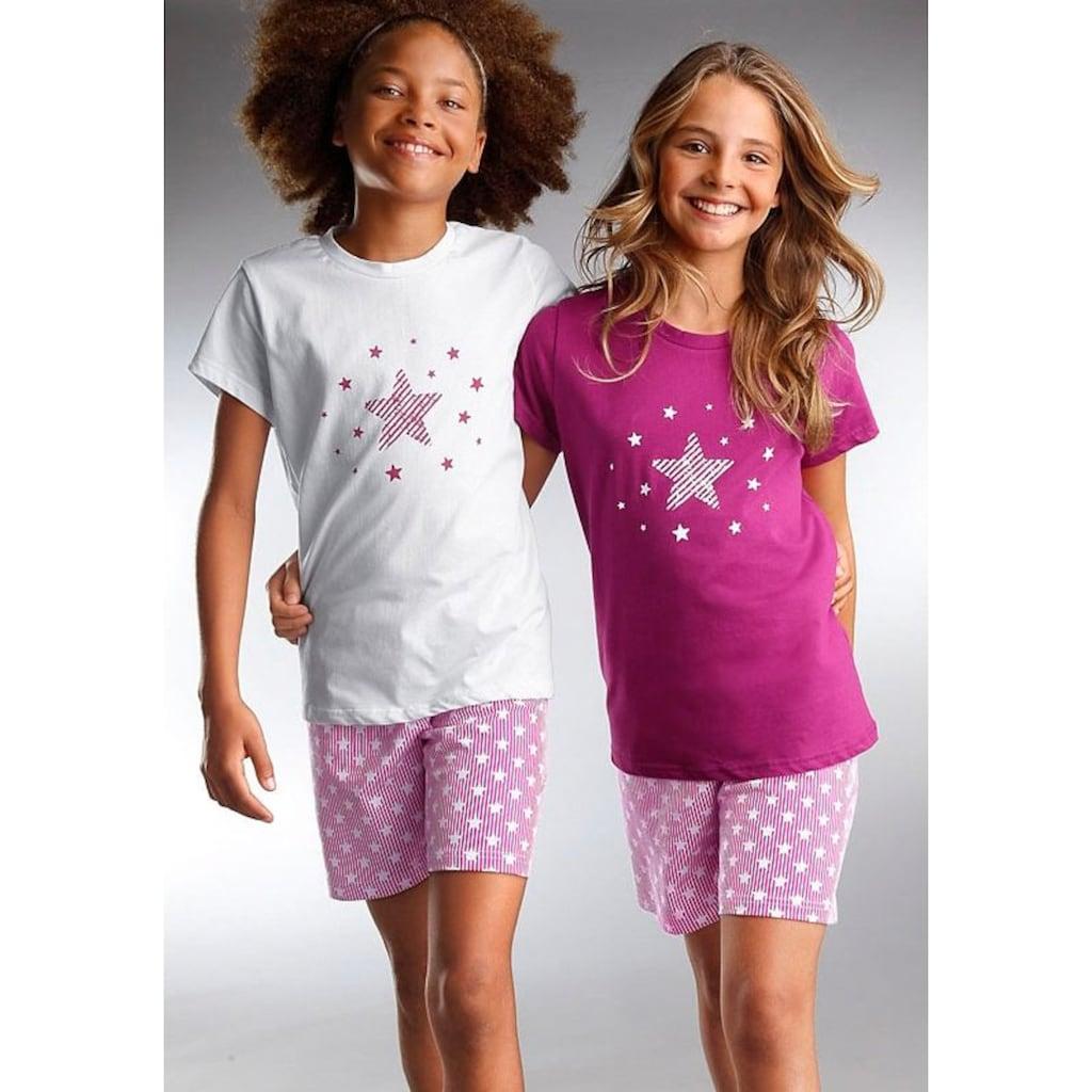 petite fleur Shorty, modischer Sternendruck auf den Shirts und Hosen