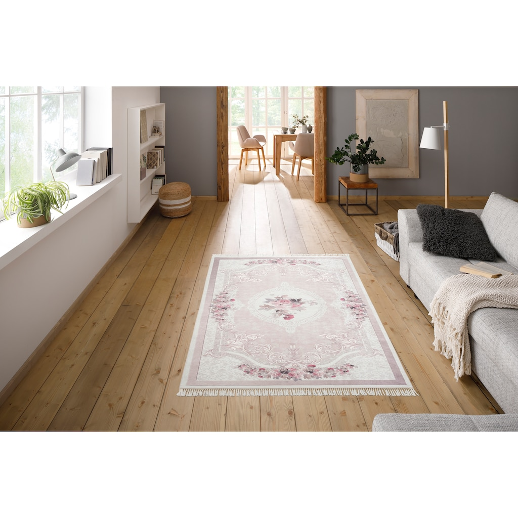 merinos Teppich »Sunshine 1055«, rechteckig, 3 mm Höhe, Besonders weich durch Microfaser, Wohnzimmer