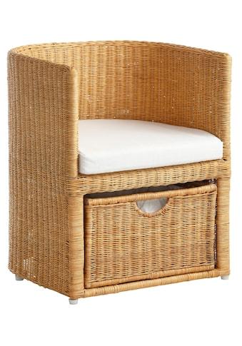 Home affaire Rattanstuhl »Blaxton«, inklusive eines Korbes und eines Sitzkissens, aus Rattangeflecht, Breite 56 cm kaufen