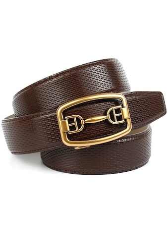 Anthoni Crown Ledergürtel, in braun mit messingfarbener Metallschnalle kaufen