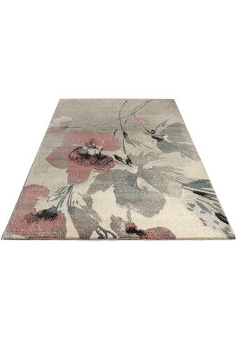 Home affaire Teppich »Lovis«, rechteckig, 14 mm Höhe, Blumen Design, Wohnzimmer kaufen