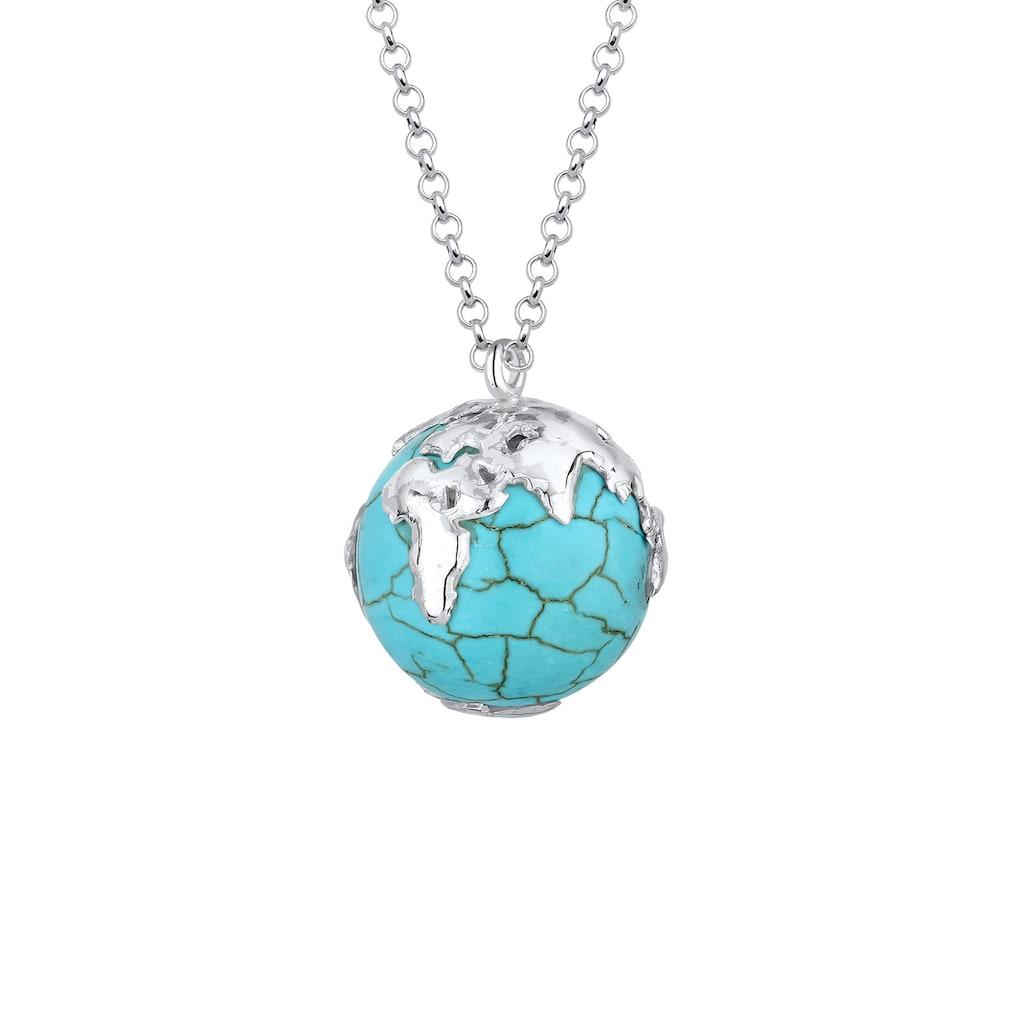 Elli Kette mit Anhänger »Erbskette Globus Weltkugel Syn. Howlith 925 Silber«