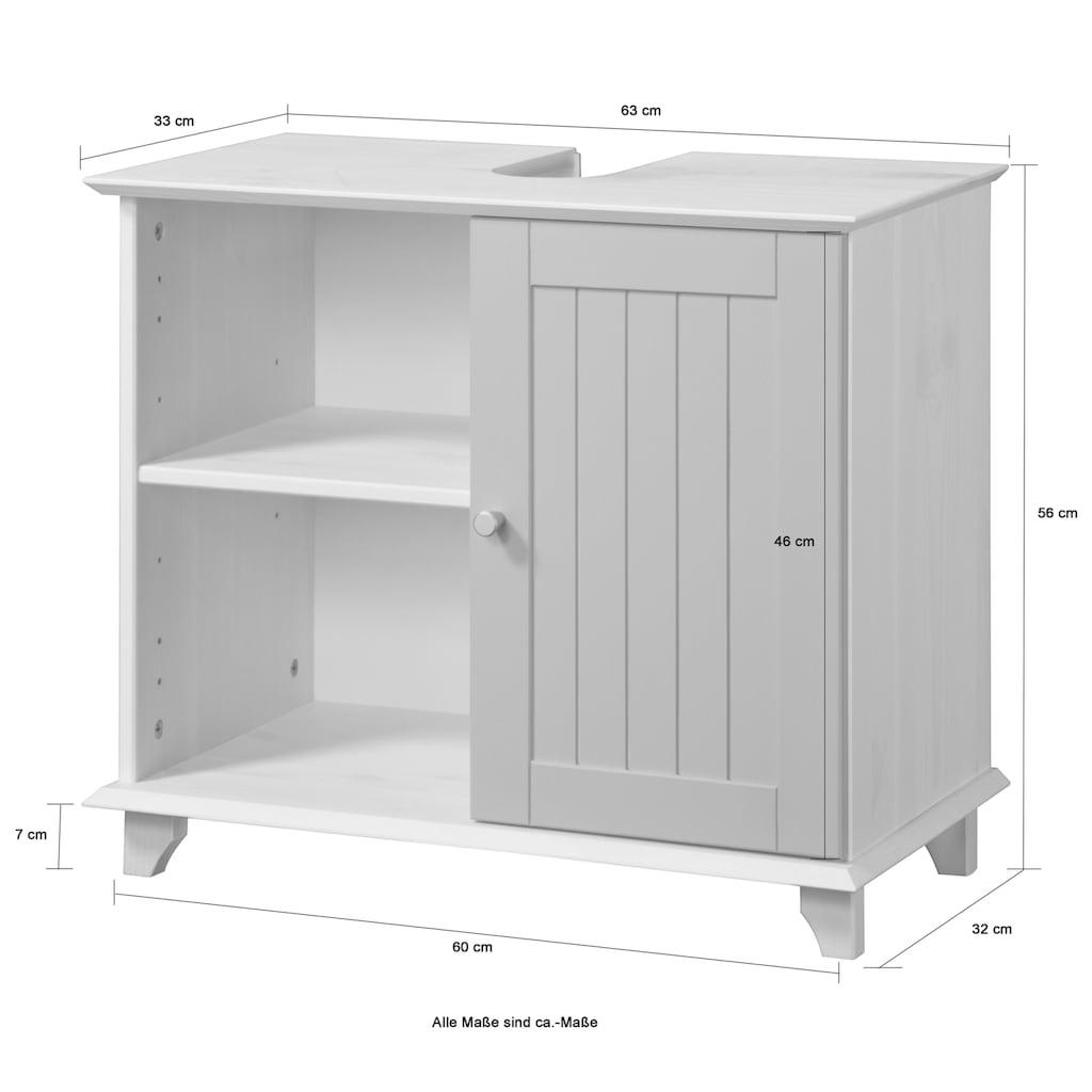 welltime Waschbeckenunterschrank »Venezia Landhaus«, Badmöbel aus Massivholz, Breite 63 cm