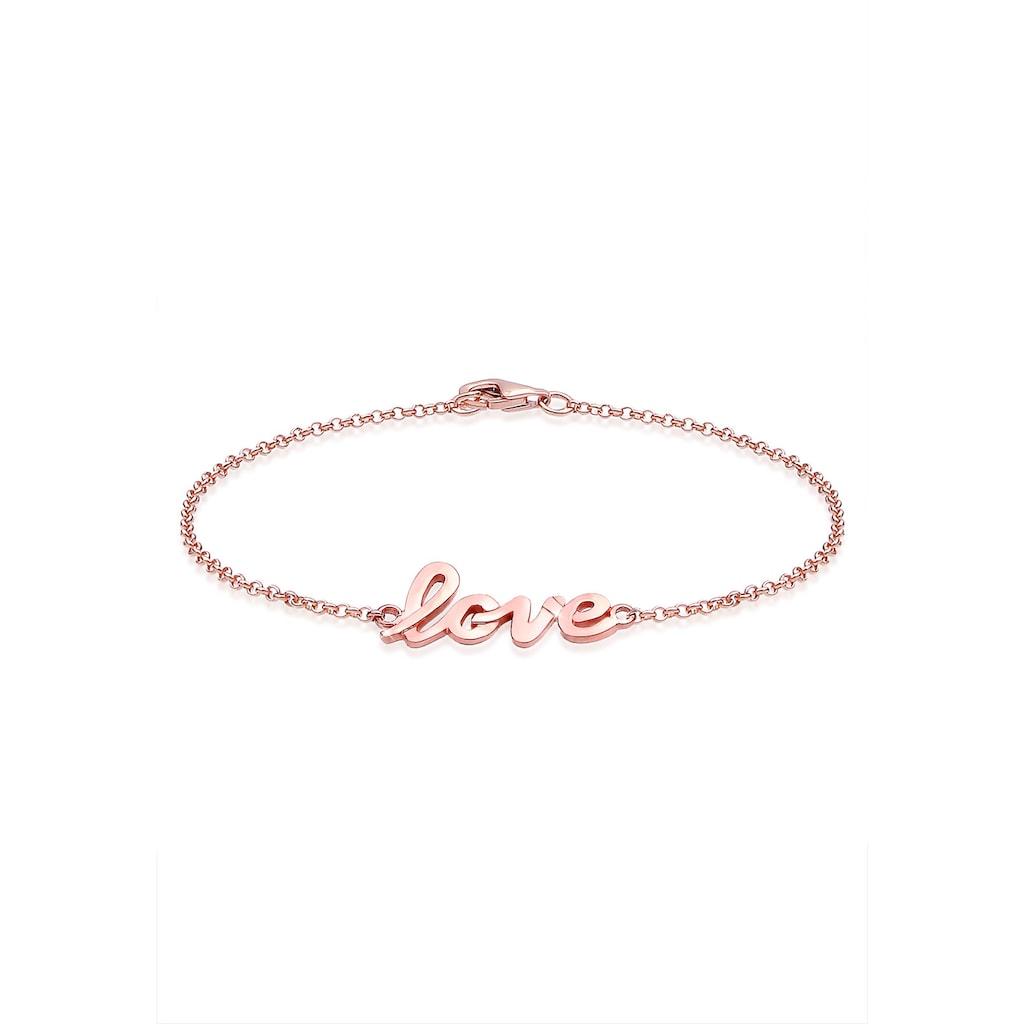 "Elli Armband »ROSÉGOLD 925 Silber mit ""Love"" Schriftzug«"