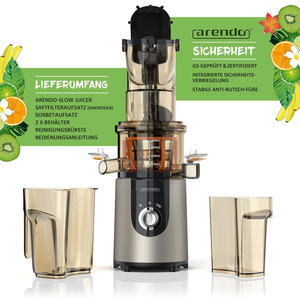 Arendo Entsafter mit 200W für kaltes Pressen »Slow Juicer«