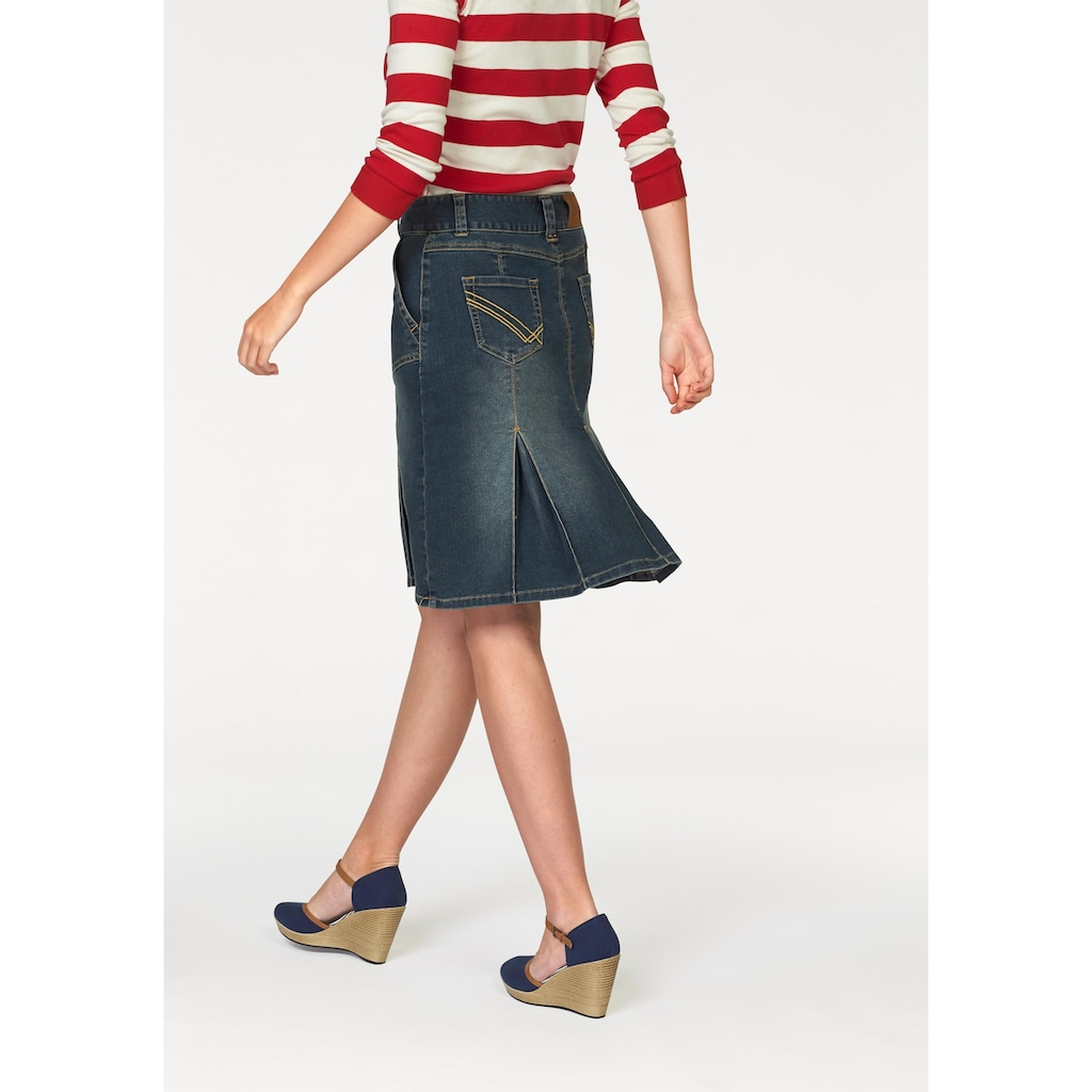 Aniston CASUAL Jeansrock, mit eingelegten Falten