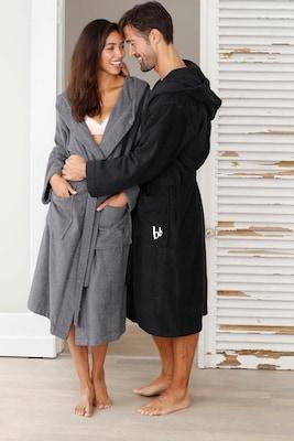 Damen und Herren-Bademantel in Grau und Schwarz