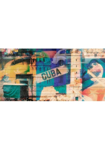QUEENCE Holzbild »Welcome to Cuba«, 40x80 cm Echtholz kaufen