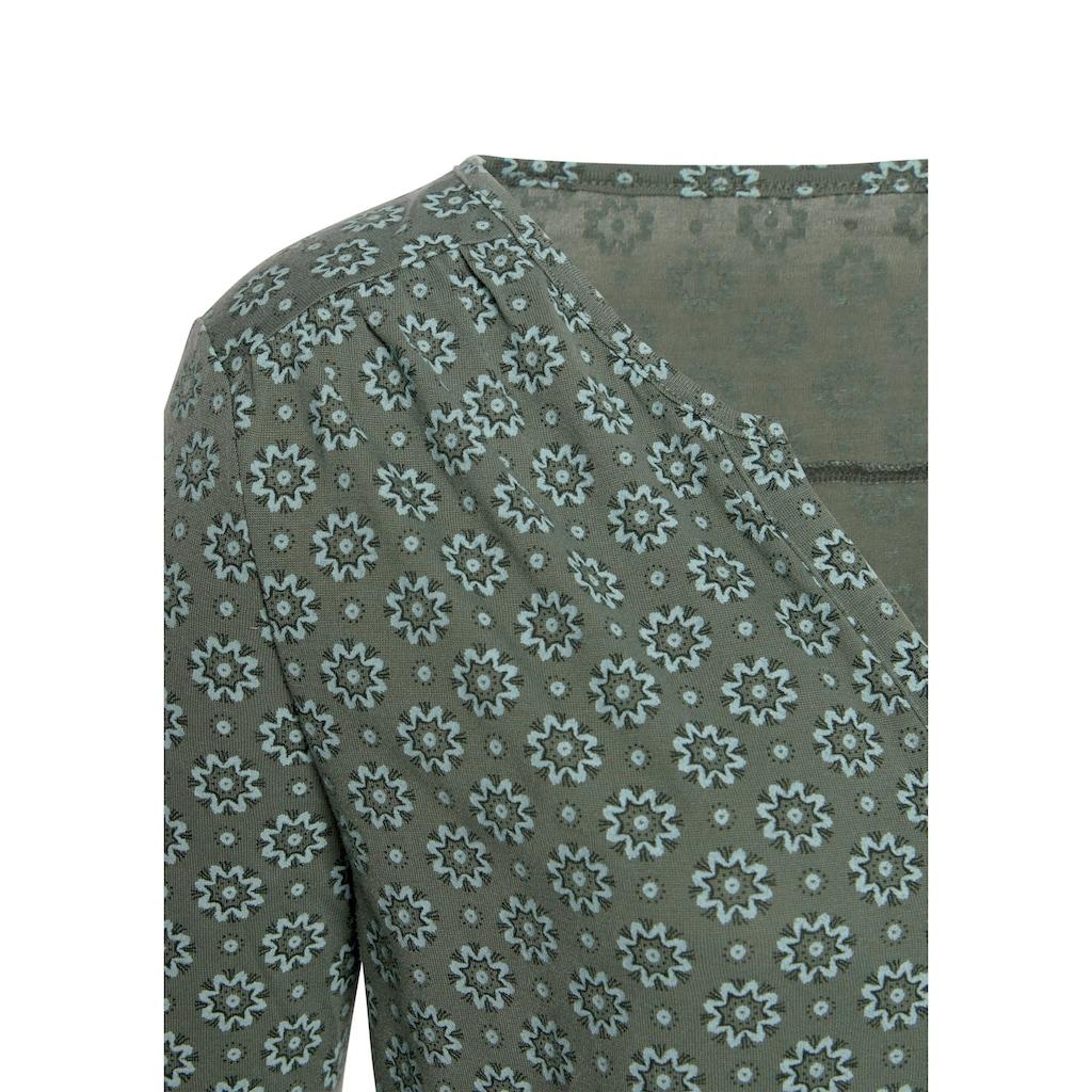 LASCANA 3/4-Arm-Shirt, mit kleiner Schulterraffung