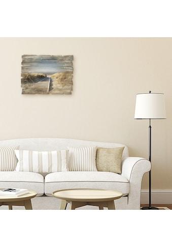 Artland Holzbild »Nordseestrand auf Langeoog  -  Steg« kaufen
