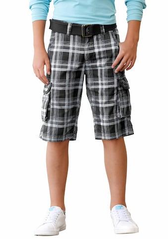 Arizona Bermudas, (Set, 2 tlg.), in coolem Karo mit Textilgürtel kaufen