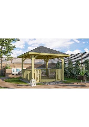 Karibu Pavillon »Bergen 1«, (Set), BxTxH: 338x338x290 cm, mit Brüstung und Fußboden kaufen