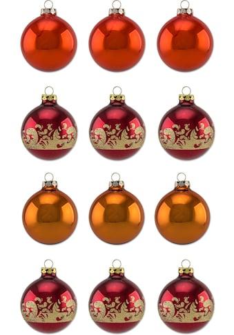 Thüringer Glasdesign Weihnachtsbaumkugel »Sienna«, (Set, 12 St.), Ø 6 cm, mit... kaufen